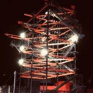 Sky Trail high ropes course at Bear Grylls adventure shown at night
