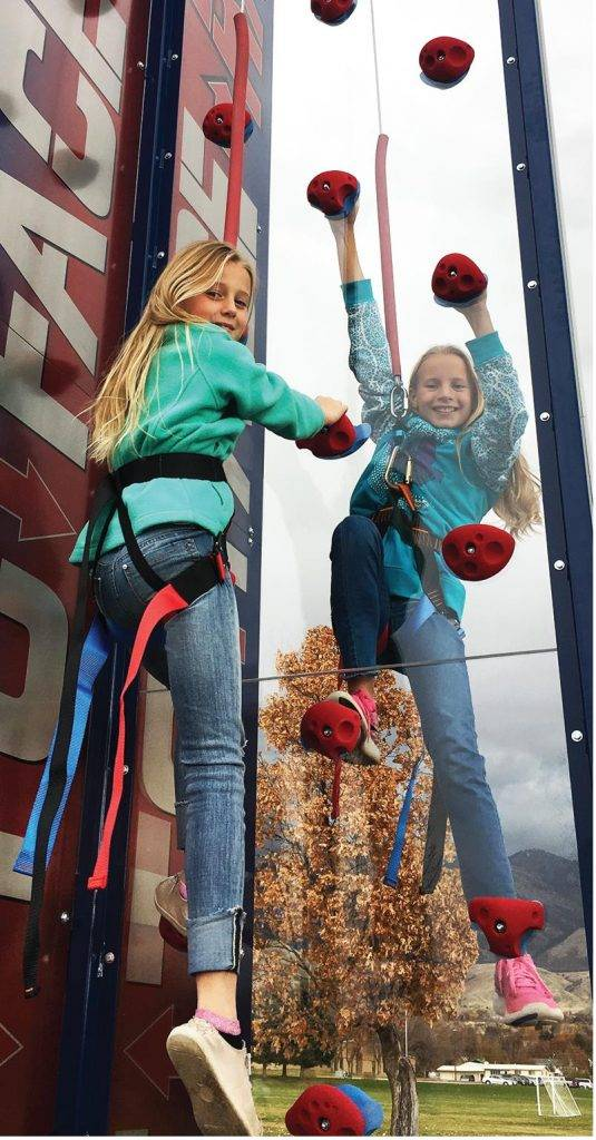 Children climbing Face to Face Race Mobile Climbing Tower